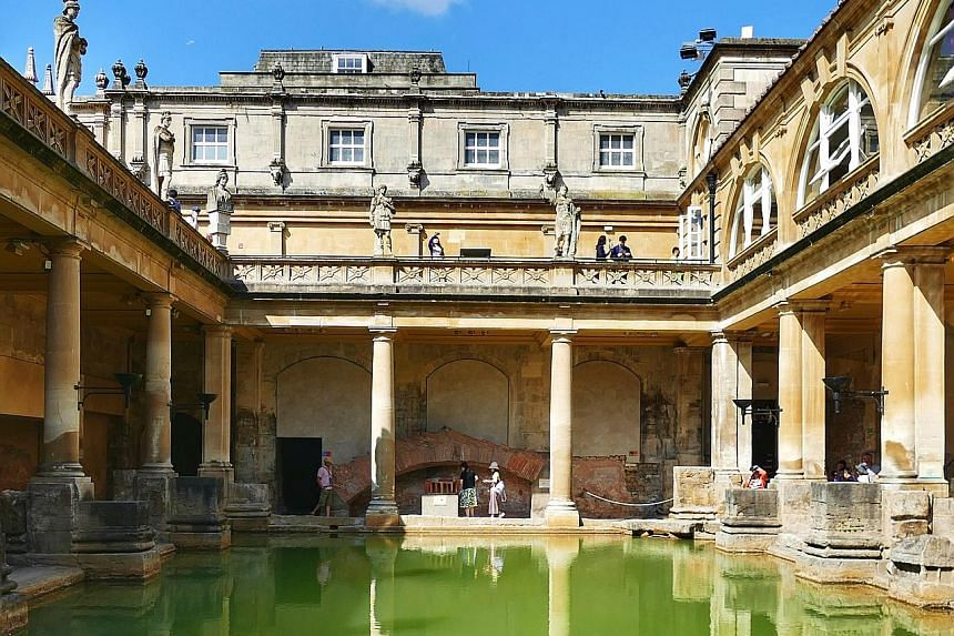 (From far left) Go goggle-eyed picking from hundreds of jars of sweets at The Bath Sweet Shop, sniff out your favourite cheese at Paxton & Whitfield and sit down for a good meal at Michelin-starred The Olive Tree Restaurant. The iconic Roman Baths in