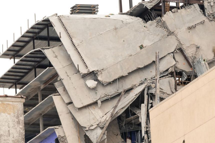 A close-up view of the site of a Hard Rock Hotel under construction near the French Quarter of New Orleans, which partially collapsed on the morning of Oct 12, 2019.