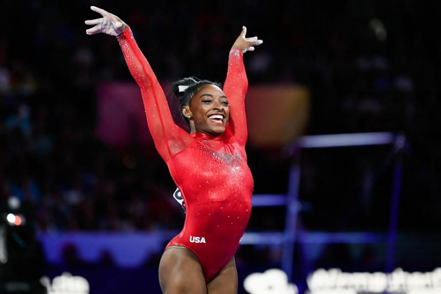 Simone Biles of USA in action during the women's jump final in Stuttgart, Germany on Oct 12, 2019.