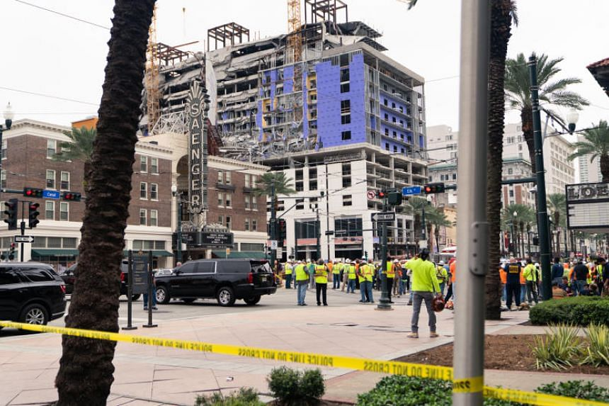 The site of a Hard Rock Hotel under construction near the French Quarter of New Orleans, which partially collapsed on the morning of Oct 12, 2019.