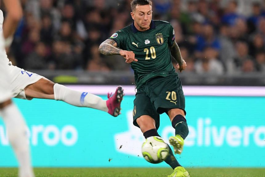 Italy's Federico Bernardeschi scores their second goal during the Euro 2020 Qualifier - Group J - Italy v Greece match at Stadio Olimpico, Rome, Italy on Oct 12, 2019.