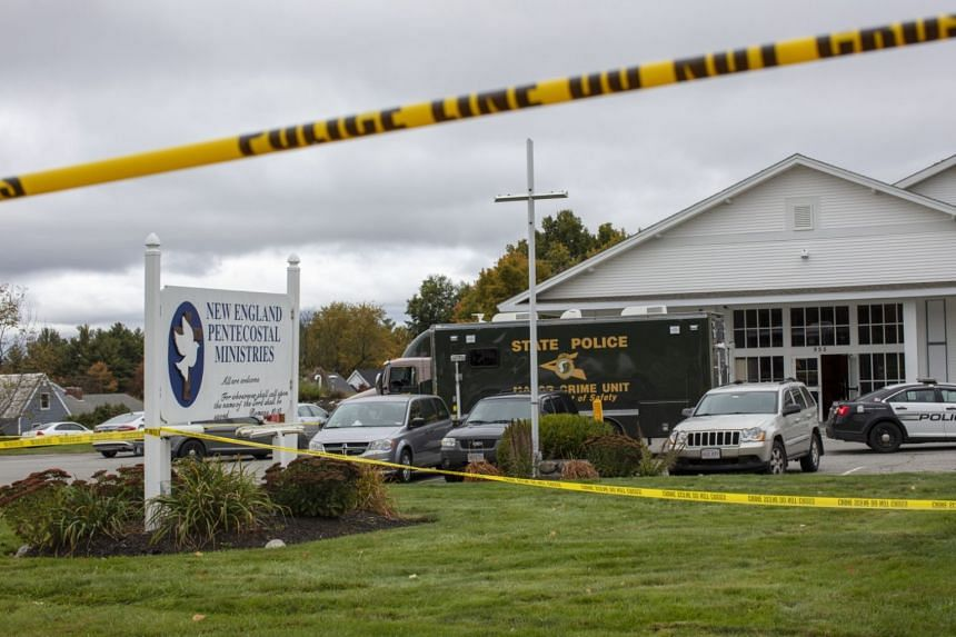 A police cordon at New England Pentecostal Ministries church in Pelham, New Hampshire, following the shooting incident, on Oct 12, 2019.