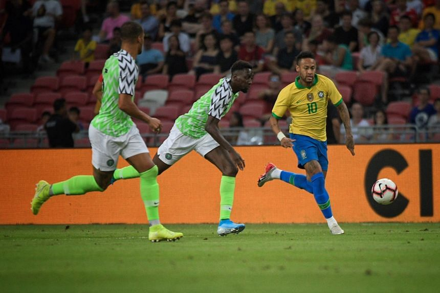 Brazil's Neymar in action during the international friendly against Nigeria at the National Stadium on Oct 13, 2019.