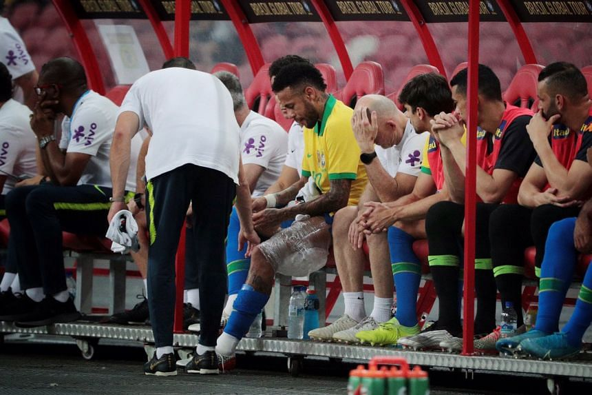 Neymar was substituted due to a hamstring complaint after just 11 minutes and 49 seconds.