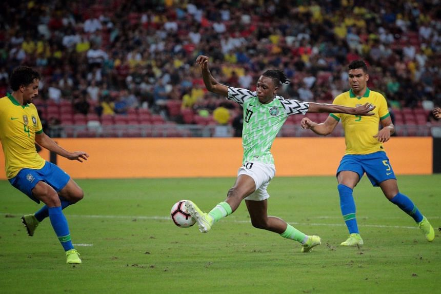 Nigeria's Joe Aribo going on to score during the international friendly against Brazil at the National Stadium on Oct 13, 2019.