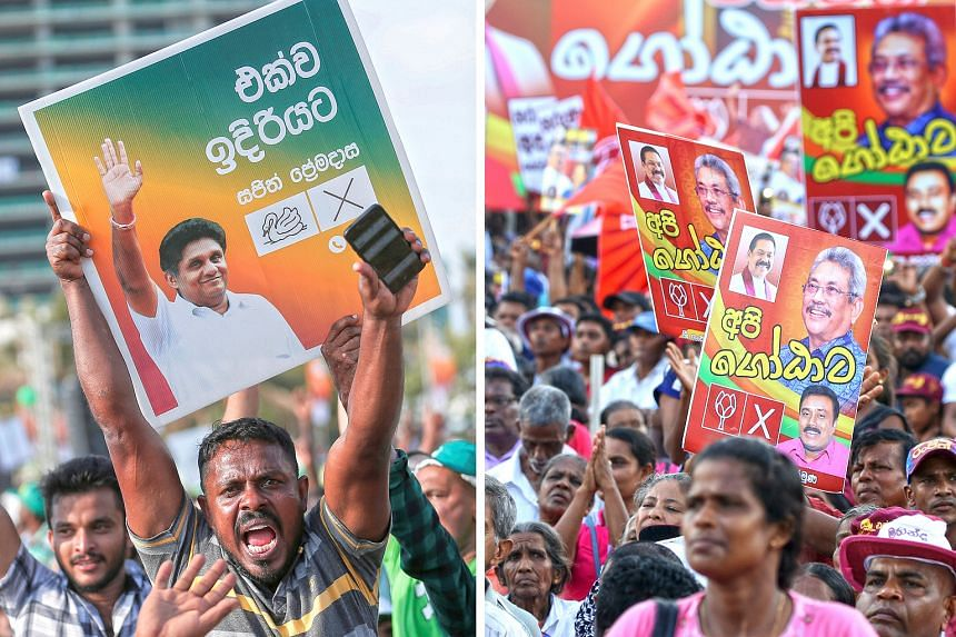 Supporters of Sri Lankan presidential contender Sajith Premadasa of the New Democratic Front at an election rally in Colombo (left) last week, while supporters of rival candidate Gotabhaya Rajapaksa of Sri Lanka Podujana Peramuna gathered in Anuradha