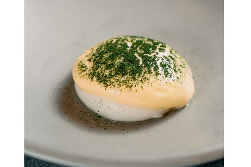 Egg Benedict was made from water thickened with modified starch and cheese water separated from whey.