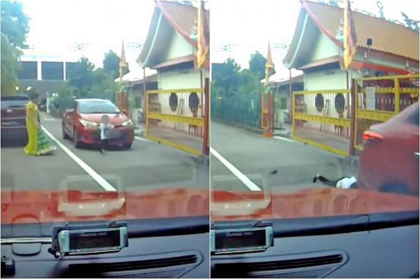 Children and road safety are a key concern. From left: A screengrab shows a boy sprinting in front of a car across Geylang Lorong 9 last Monday; in this screengrab, a boy is seen in front of an oncoming car last Saturday, and he is later shown lying