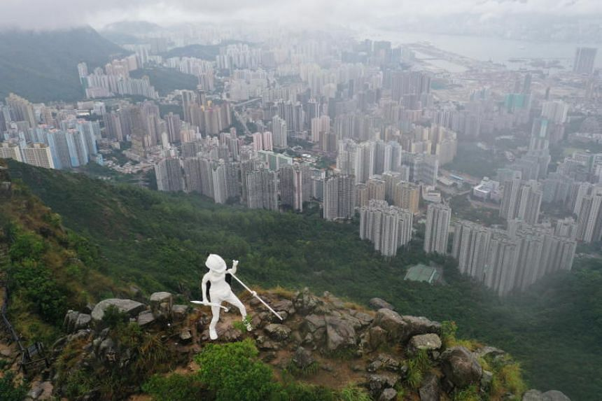 The Lady Liberty statue on the top of the iconic Lion Rock in Hong Kong on Oct 13, 2019.