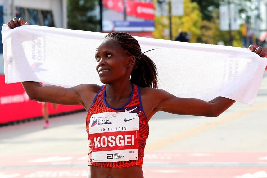 Kenyan Brigid Kosgei (pictured) set a blistering pace from the start to run 2hr 14min 4sec and shatter Paula Radcliffe's previous record of 2:15:25.