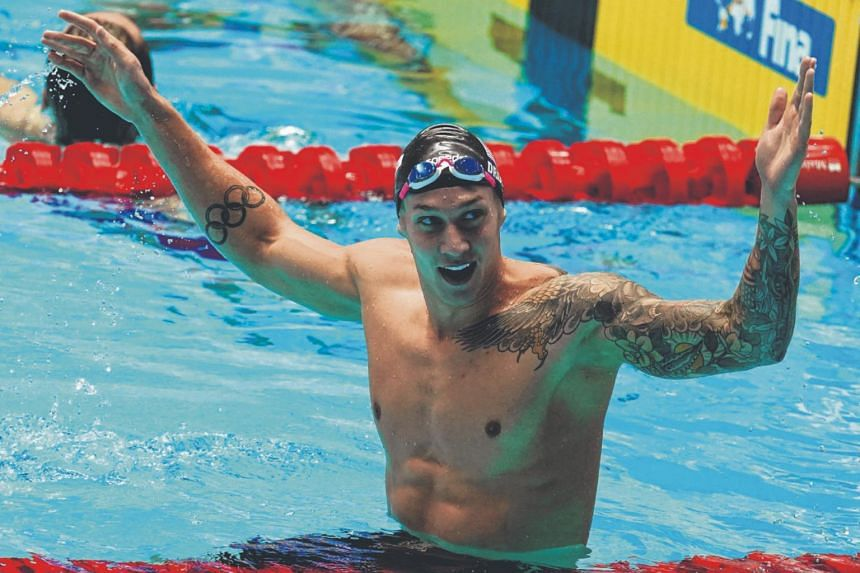 In a photo from July 27, 2019, Caeleb Dressel of USA celebrates during the Men's 50m Butterfly Final at the 2019 FINA Swimming World Championships. He was named the Most Valuable Player of the International Swimming League event in southern Italy on