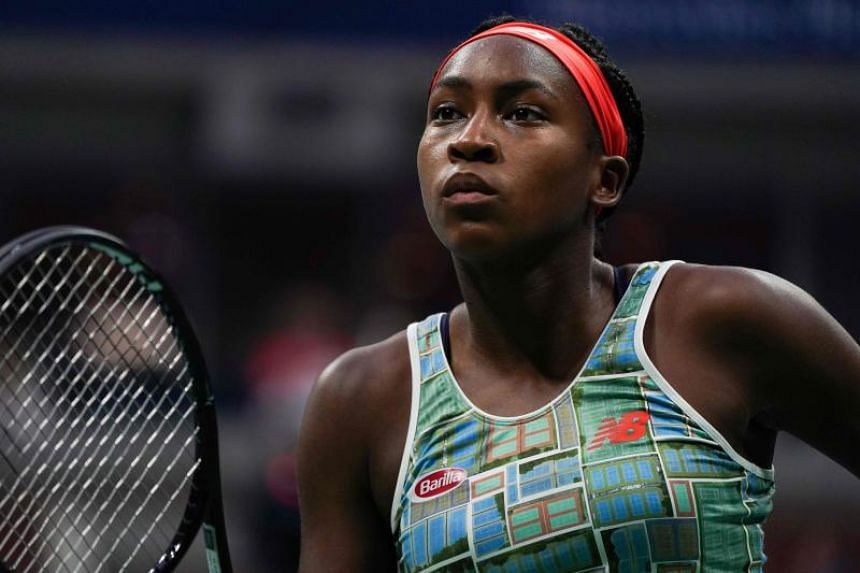 Coco Gauff  warms up during the 2019 US Open at the USTA Billie Jean King National Tennis Center in New York, on Aug 31, 2019.
