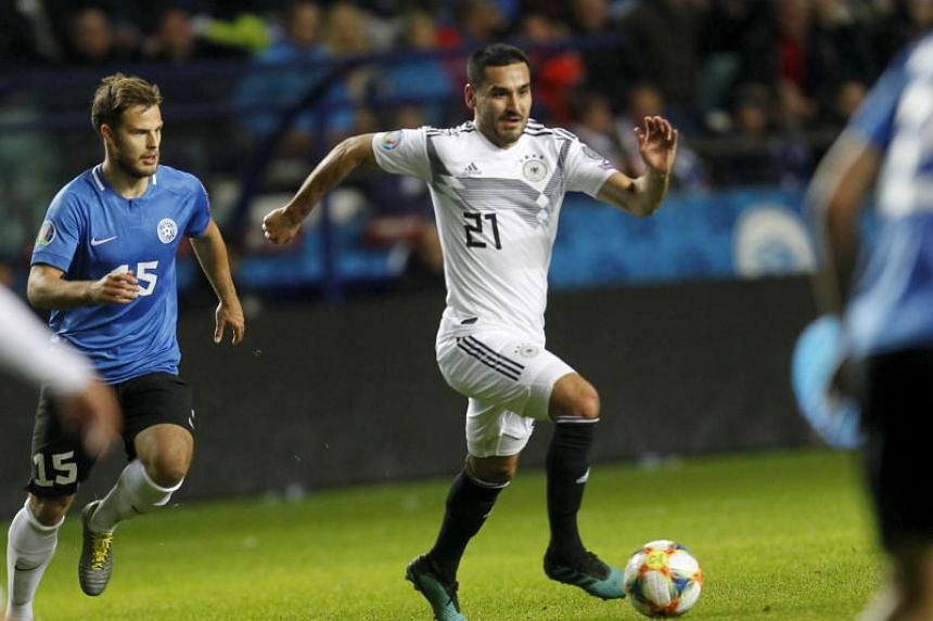 Germany's Ilkay Gundogan in action during the Uefa Euro 2020 Group C qualifying soccer match between Estonia and Germany in Tallinn, Estonia, on Oct 13, 2019.