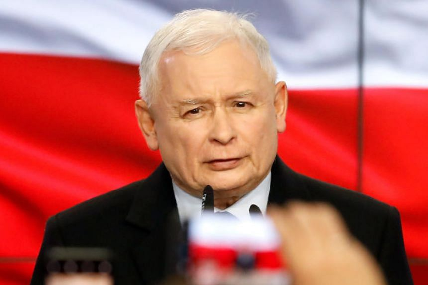 Poland's ruling party Law and Justice leader Jaroslaw Kaczynski speaks after the exit poll results are announced in Warsaw, Poland, on Oct 13, 2019.