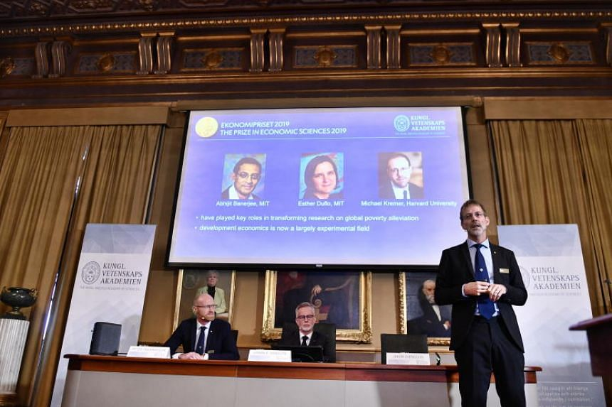 Member of the Nobel Committee for Economic Sciences Jakob Svensson speaking during the announcement of the winners of the 2019 Nobel Prize in Economic Sciences at the Royal Swedish Academy of Sciences in Stockholm on Oct 14, 2019.