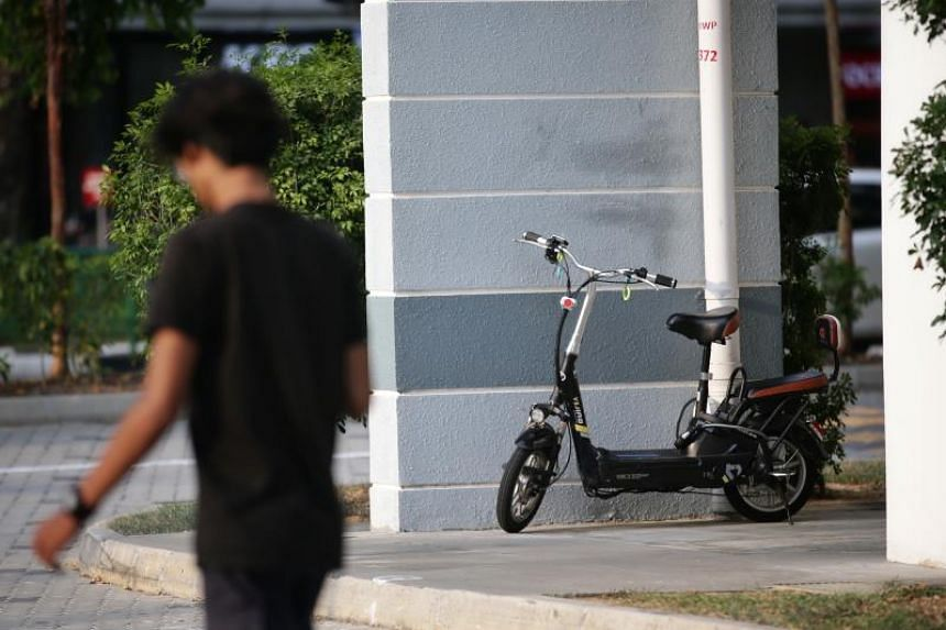 A photo taken on Aug 5 shows a personal mobility device parked in the void deck of a Housing Board block in Pasir Ris. More than 300 PMD riders and cyclists were caught riding in void decks and other common areas of HDB blocks in September.