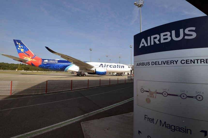 In a photo taken on Sept 27, an Aircalin plane is parked at the Airbus delivery center in Colomiers, France.