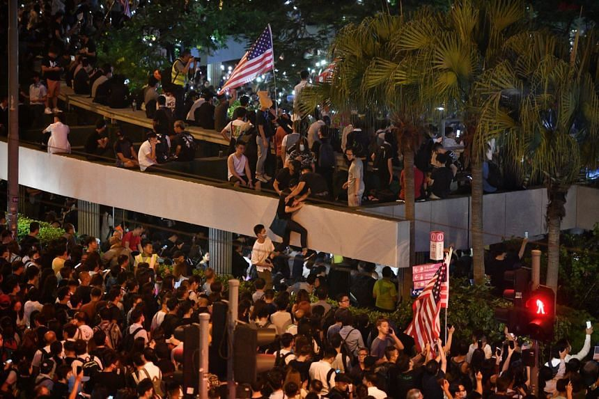 Protesters gather at Hong Kong's Chater Garden in Admiralty district near government headquarters on Oct 14, 2019.