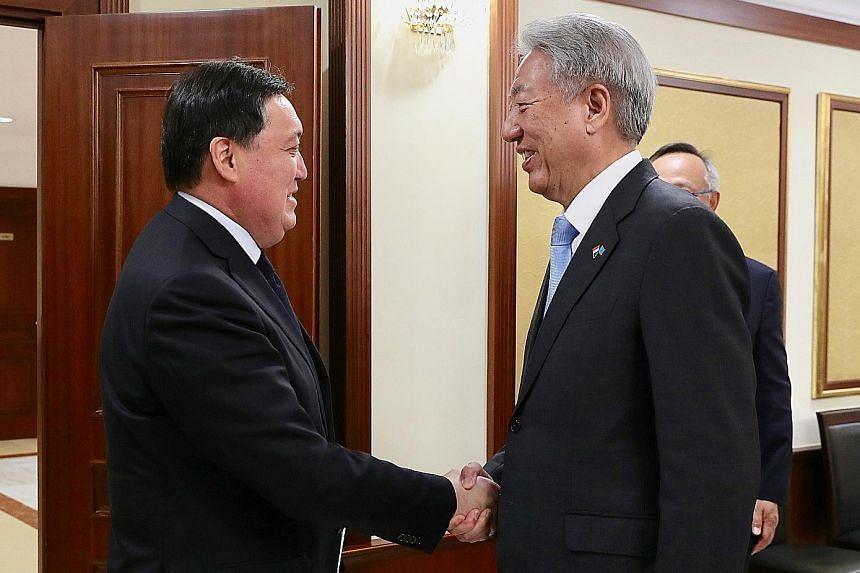 Senior Minister Teo Chee Hean meeting Kazakhstan Prime Minister Askar Mamin in Nur-Sultan yesterday. As part of his visit to Kazakhstan, which began on Sunday, Mr Teo also met President Kassym-Jomart Tokayev.
