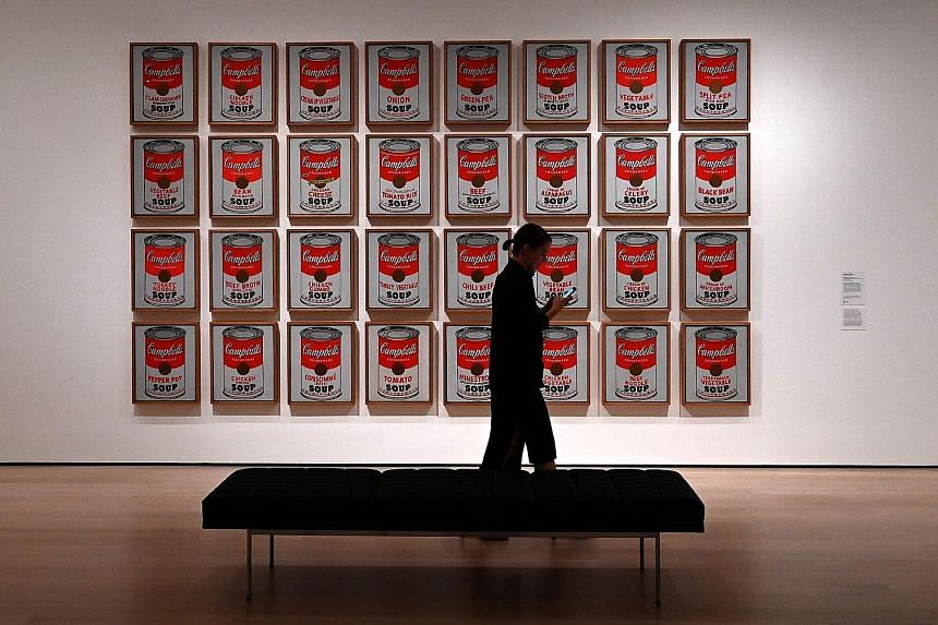 Andy Warhol's Campbell's Soup Cans on display at the expanded and re-imagined Museum of Modern Art during a press preview last Thursday, ahead of next Monday's opening of its expanded campus.