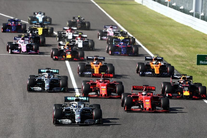 Drivers take part in the start of the Formula One Japanese Grand Prix final at Suzuka on Oct 13, 2019.