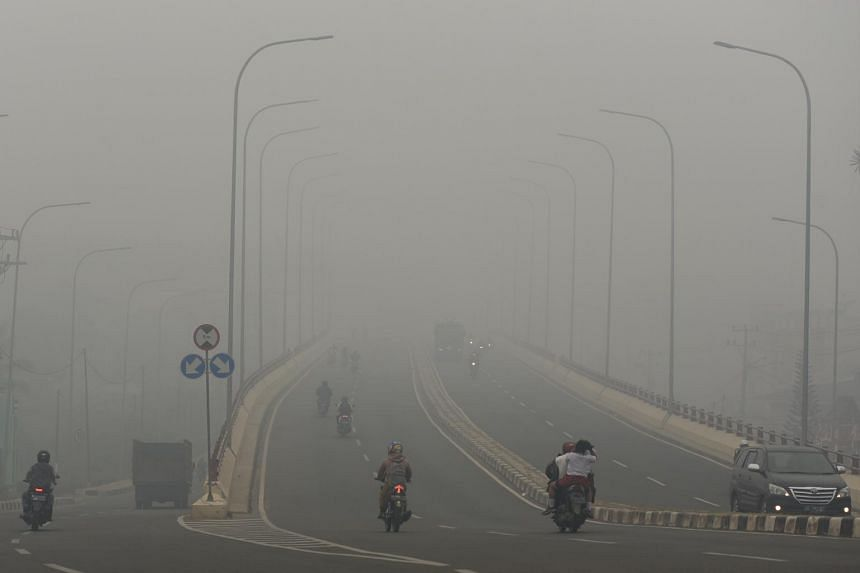 Haze in Palembang, in Indonesia's South Sumatra province on Oct 14, 2019.