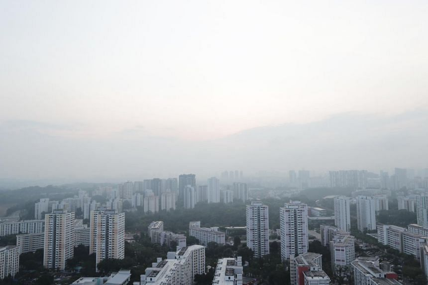 A file photo taken on Sept 25, 2019, showing hazy skies in the western region of Singapore.