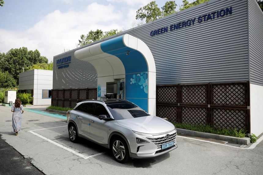 In a photo taken on Aug 13, a Hyundai Nexo hydrogen car is fuelled at a hydrogen station in Seoul.