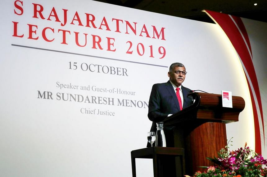 Chief Justice Sundaresh Menon speaks at the S. Rajaratnam Lecture at the Raffles City Convention Centre on Oct 15, 2019.
