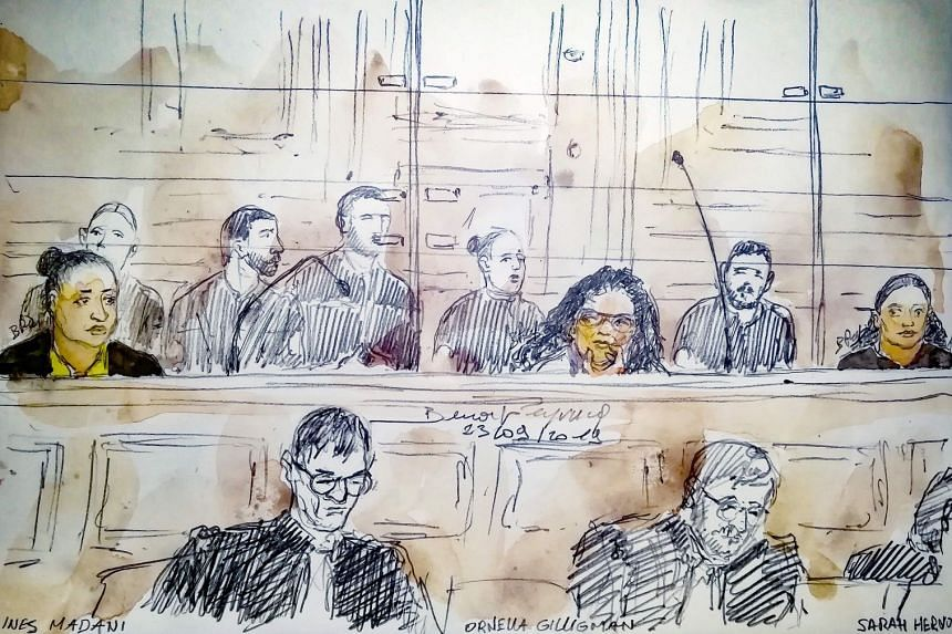 A court sketch made on Sept 23, 2019, showing (from left) Ines Madani, Ornella Gilligmann and Sarah Hervouet during the trial of five women facing charges over a plot to detonate a car bomb near Notre Dame Cathedral.