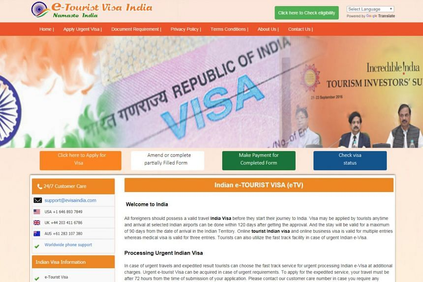 A fake website offering Indian visa or e-tourist visa-related services on behalf of the Indian government.