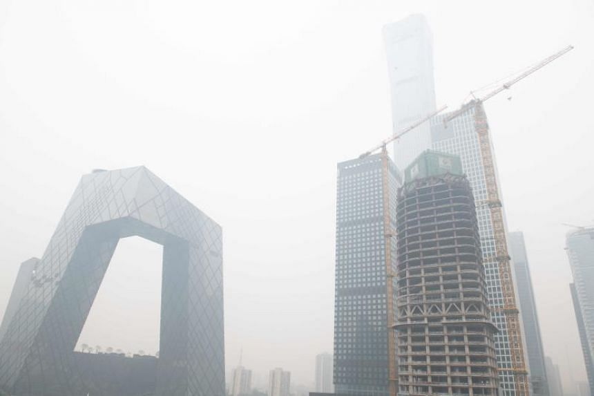 A file photo taken on Oct 15, 2018 shows a general view of the central business district on a polluted day in Beijing, China.