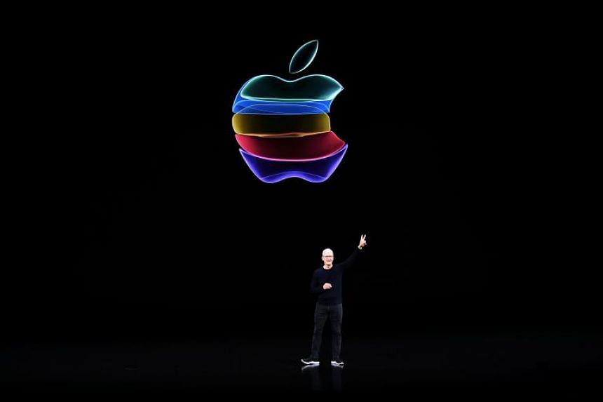 In this file photo taken on Sept 10, 2019, Apple CEO Tim Cook speaks on stage during a product launch event at Apple's headquarters in Cupertino, California.