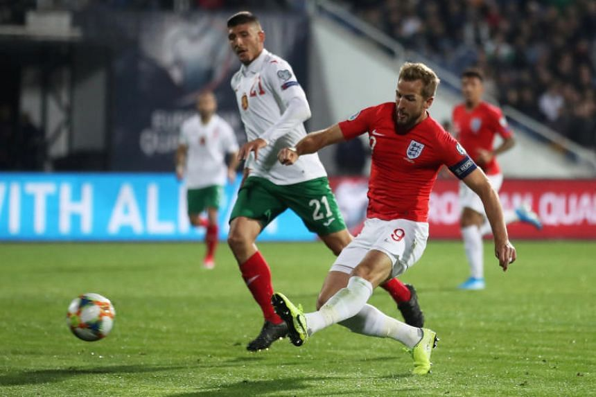 England's Harry Kane scores the team's sixth goal during the Group A Euro 2020 Qualifier match between Bulgaria and England at the Vasil Levski National Stadium in Sofia, Bulgaria on Oct 14, 2019.
