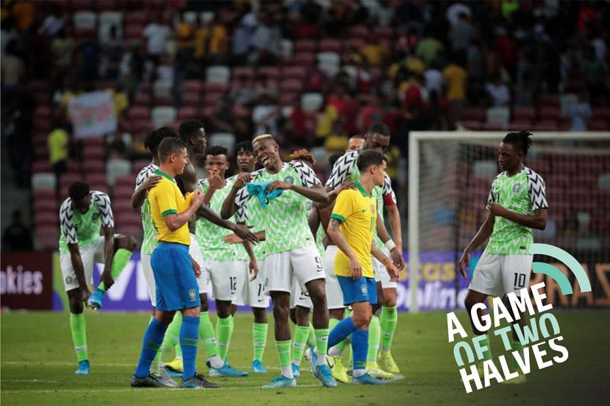 Players reacting after full time as Brazil take on Nigeria in their international friendly football match at the National Stadium in Singapore on Oct 13, 2019.