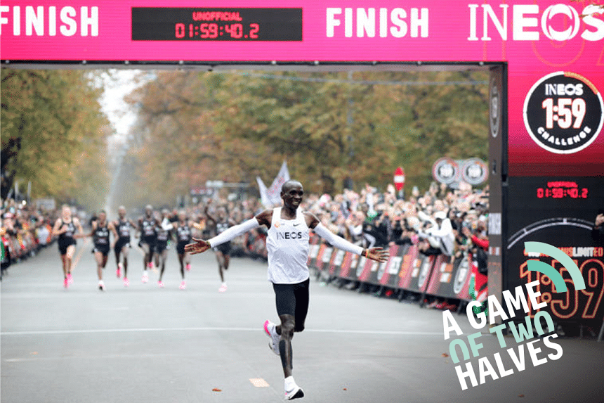 Kenya's Eliud Kipchoge, the marathon world record holder, crosses the finish line during his attempt to run a marathon in under two hours in Vienna, Austria, October 12, 2019.