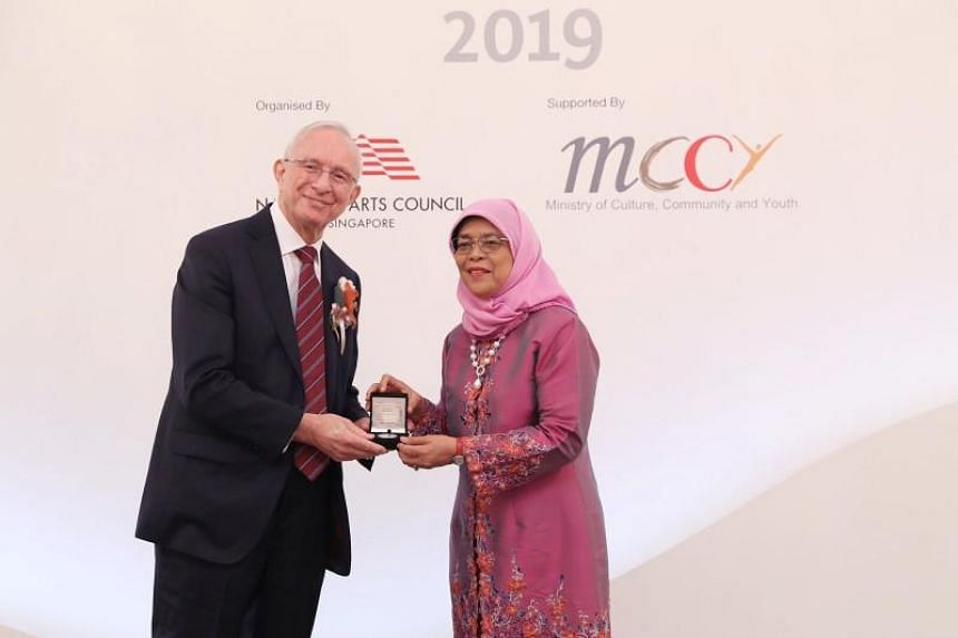 Composer Eric James Watson was conferred the Cultural Medallion by President Halimah Yacob in a ceremony at the Istana on Oct 15, 2019.