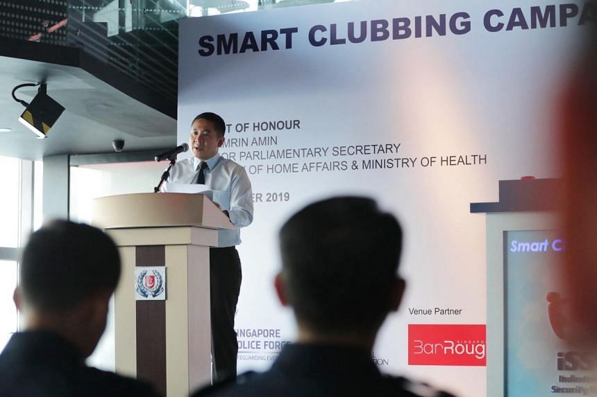 Senior Parliamentary Secretary for Home Affairs Amrin Amin delivers his speech at The Smart Clubbing Campaign at Bar Rouge, Swissotel, on Oct 15, 2019.