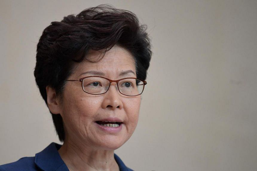 In a photo taken on Oct 8, Hong Kong Chief Executive Carrie Lam speaks during her weekly press conference in Hong Kong.
