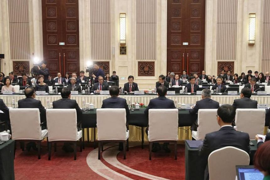 Deputy Prime Minister Heng Swee Keat leading the Singapore delegation as he co-chairs the 15th Joint Council for Bilateral Cooperation in Chongqing, China, on Oct 15, 2019.
