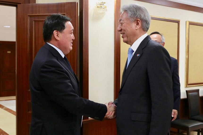 Senior Minister Teo Chee Hean meeting Kazakhstan Prime Minister Askar Mamin in Kazakhstan's capital of Nur-Sultan, on Oct 14, 2019.