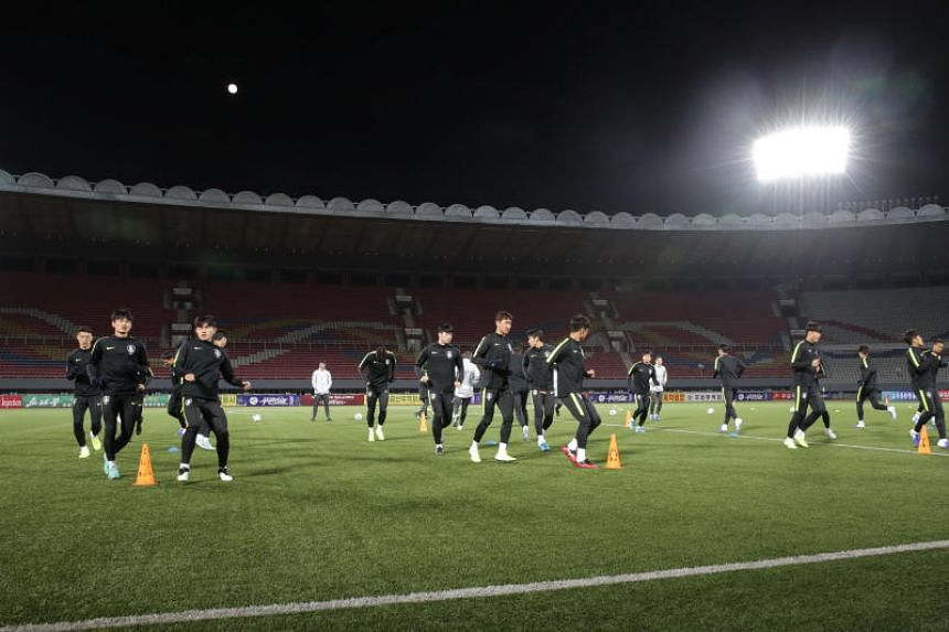 South Korea's national soccer team train at the Kim Il-sung Stadium in Pyongyang, North Korea, on Oct 14, 2019. The match is the first one the South Korean men's national team has played in North Korea since a friendly in 1990.