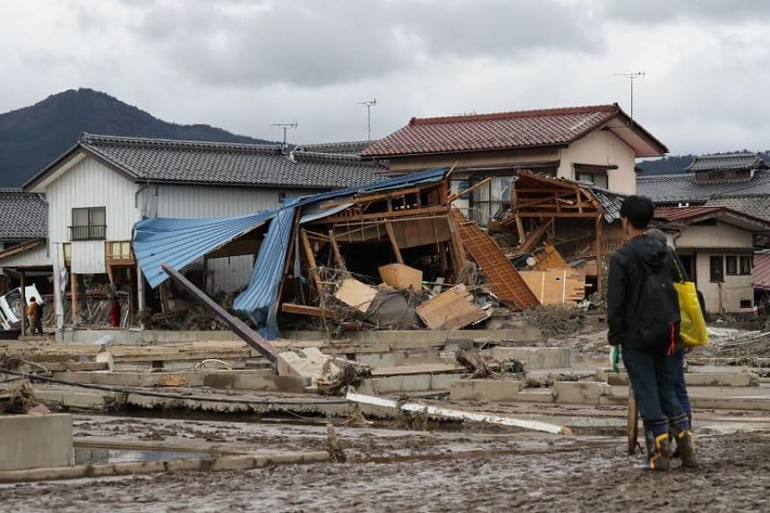 A photo taken on Oct 15 shows a house destroyed by floods after Typhoon Hagibis struck, in Nagano, Japan.