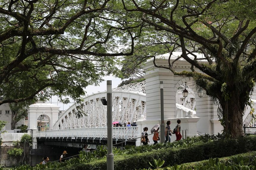 From top: Cavenagh Bridge, Anderson Bridge and Elgin Bridge were collectively gazetted as Singapore's 73rd national monument yesterday. Until Oct 28, members of the public will be able to check out a series of installations at the bridges as part of