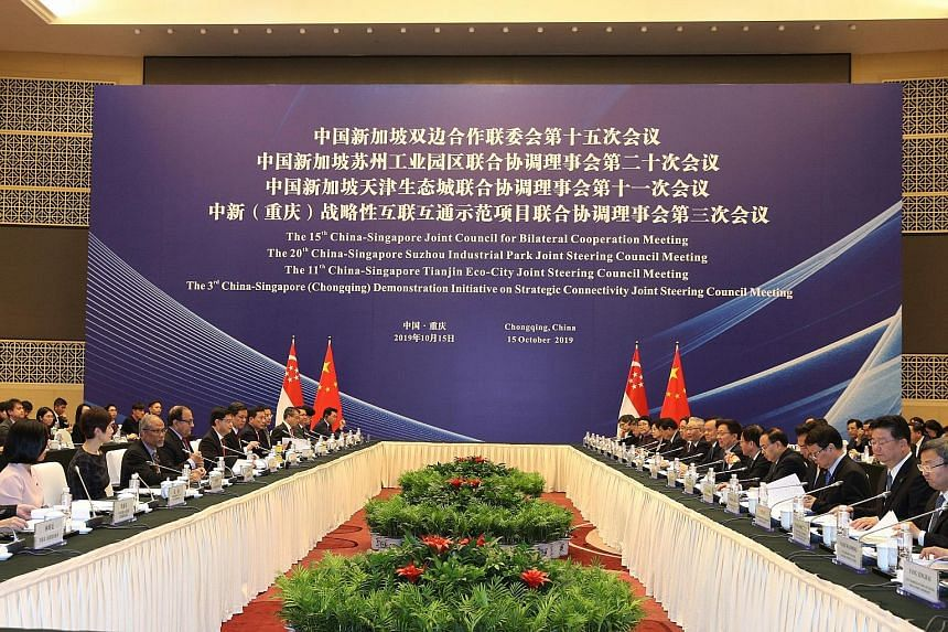 The Singapore delegation at yesterday's Joint Council for Bilateral Cooperation meeting in Chongqing included (from left): Senior Minister of State for Communications and Information, and Culture, Community and Youth Sim Ann; Minister for Manpower an