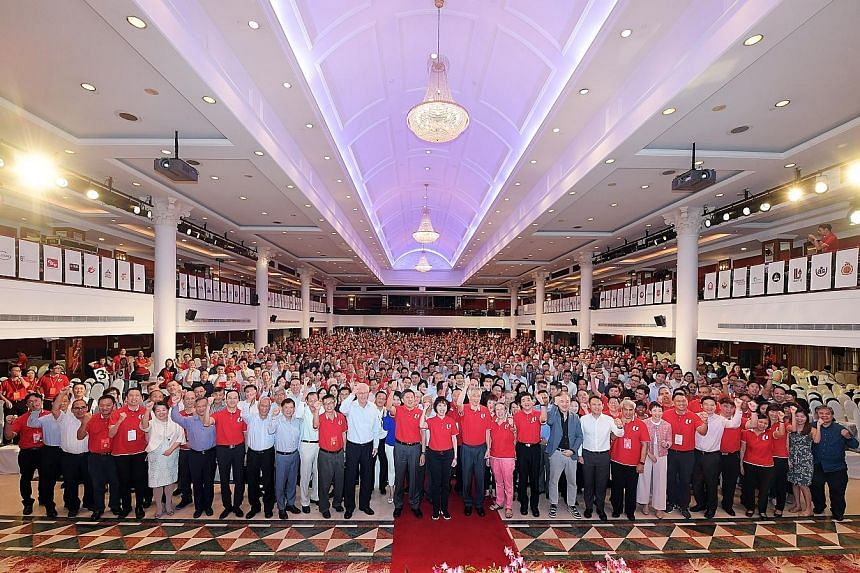 Prime Minister Lee Hsien Loong with delegates and guests at the NTUC National Delegates' Conference at Orchid Country Club yesterday. ST PHOTO: ALPHONSUS CHERN