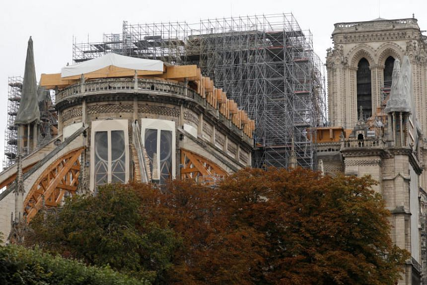 Work continues on the Notre Dame Cathedral to stabilise the cathedral's structure six months after a fire caused significant damage, in Paris, on Oct 15, 2019.