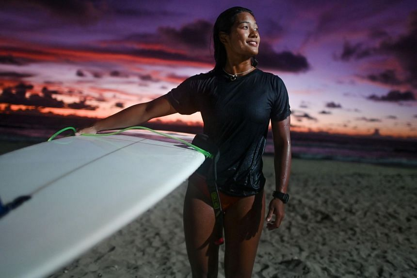 Myanmar's Nida Soe, after her surfing practice session on Ngwe Saung beach in Irrawaddy, ahead of the upcoming SEA Games in the Philippines.
