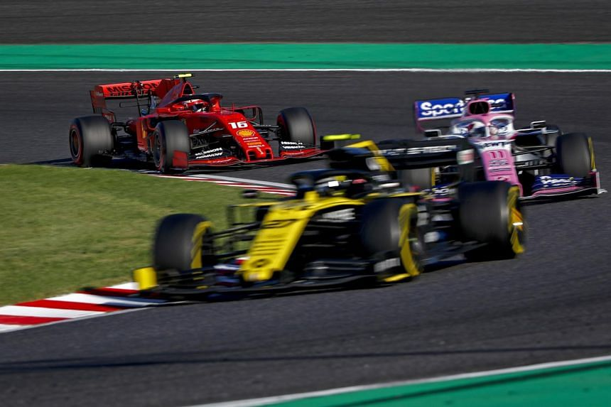 Formula One drivers in action during the Japanese Grand Prix in Suzuka, Japan, on Oct 13, 2019.