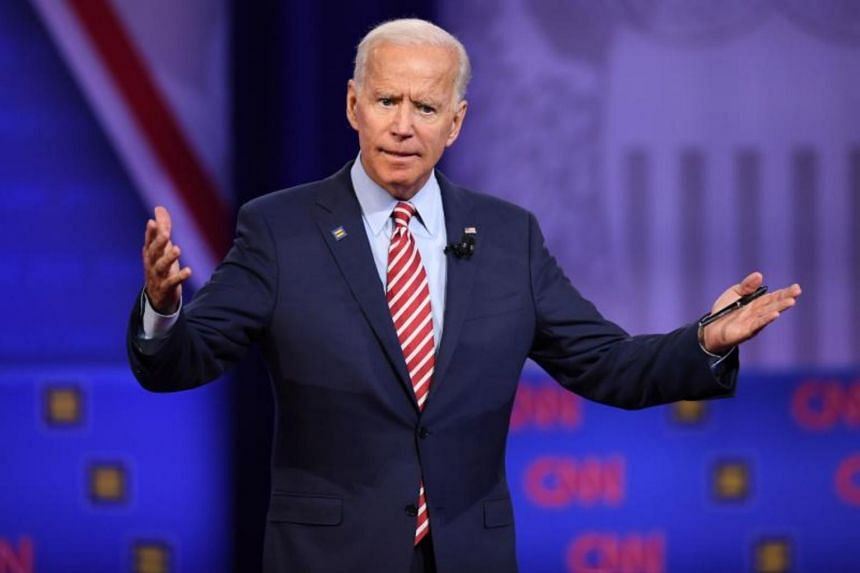 Democratic presidential hopeful Joe Biden speaking during a town hall at The Novo in Los Angeles, on Oct 10, 2019.
